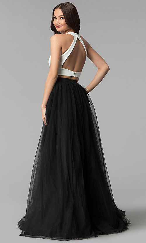 Image of long two-tone two-piece high-neck prom dress. Style: AL-HL-250 Back Image