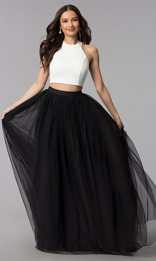 Image of long two-tone two-piece high-neck prom dress. Style: AL-HL-250 Front Image