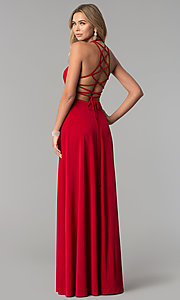Image of strappy-corset-back long Harper and Lemon prom dress. Style: AL-HL-251 Front Image