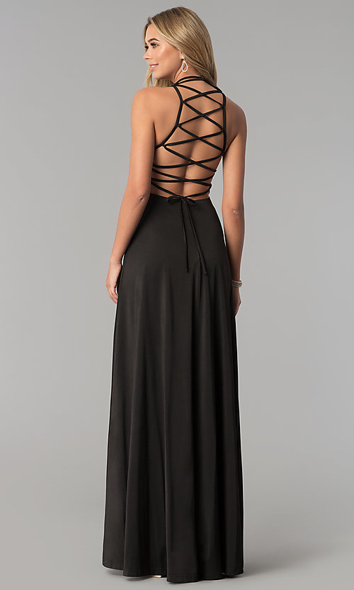 Image of strappy-corset-back long Harper and Lemon prom dress. Style: AL-HL-251 Detail Image 3
