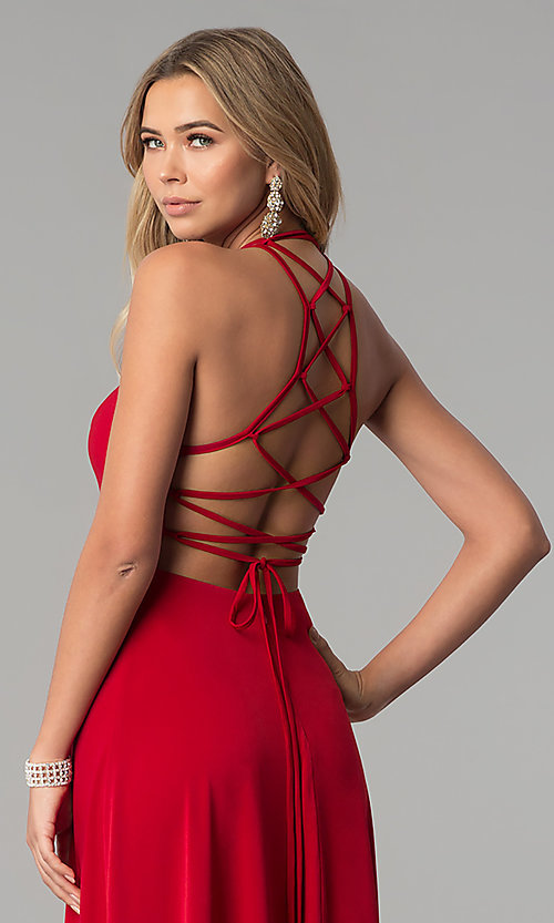 Image of strappy-corset-back long Harper and Lemon prom dress. Style: AL-HL-251 Detail Image 1