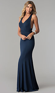 Image of wrapped-bodice Harper and Lemon formal prom dress. Style: AL-HL-256 Detail Image 1