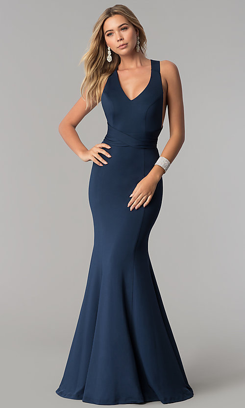 Image of wrapped-bodice Harper and Lemon formal prom dress. Style: AL-HL-256 Front Image