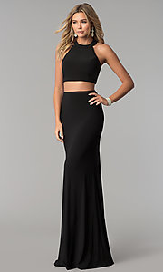 Image of high-neck two-piece long prom dress with open back. Style: AL-HL-253 Detail Image 1