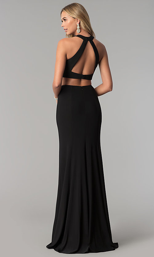 Image of high-neck two-piece long prom dress with open back. Style: AL-HL-253 Detail Image 2