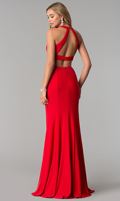 Image of high-neck two-piece long prom dress with open back. Style: AL-HL-253 Back Image