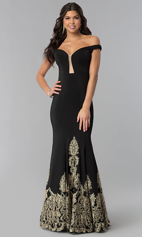 Image of off-the-shoulder embroidered long black prom dress. Style: BL-11547 Front Image