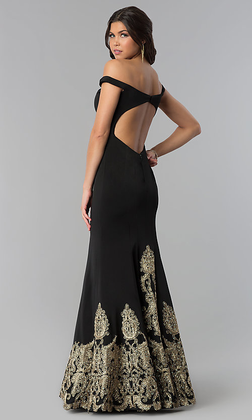 Image of off-the-shoulder embroidered long black prom dress. Style: BL-11547 Back Image