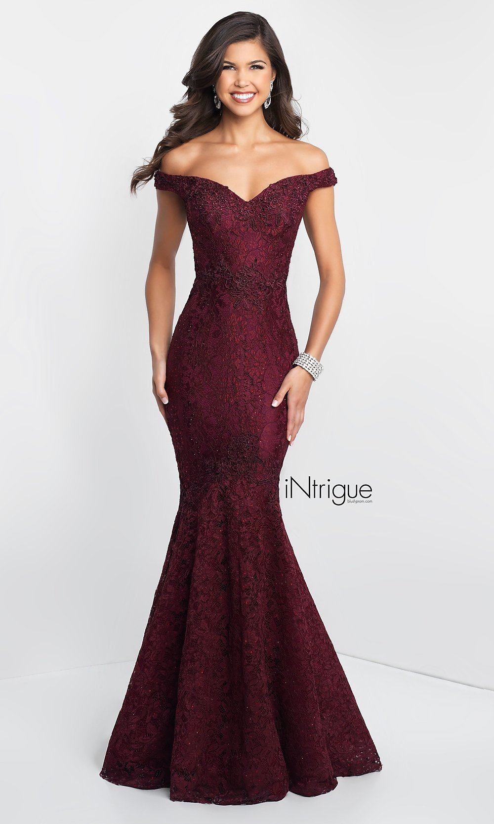 Off-the-Shoulder Long Lace Mermaid Designer Prom Dress