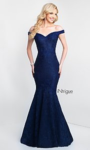 Image of lace off-the-shoulder mermaid designer prom dress. Style: BL-IN-425 Detail Image 3
