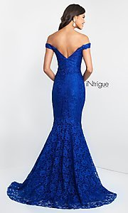 Image of lace off-the-shoulder mermaid designer prom dress. Style: BL-IN-425 Back Image