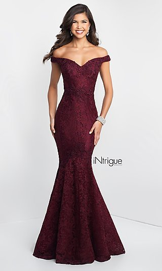 f0b960d20d Lace Off-the-Shoulder Mermaid Designer Prom Dress. Share