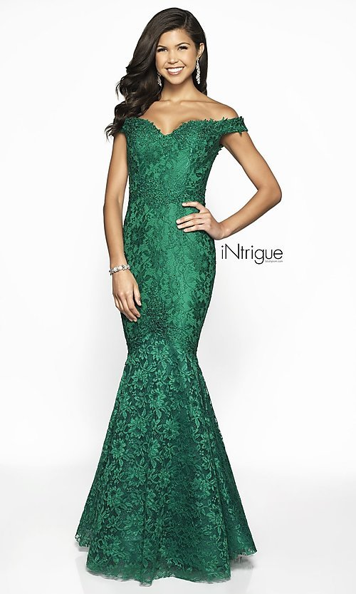 Image of lace off-the-shoulder mermaid designer prom dress. Style: BL-IN-425 Detail Image 5