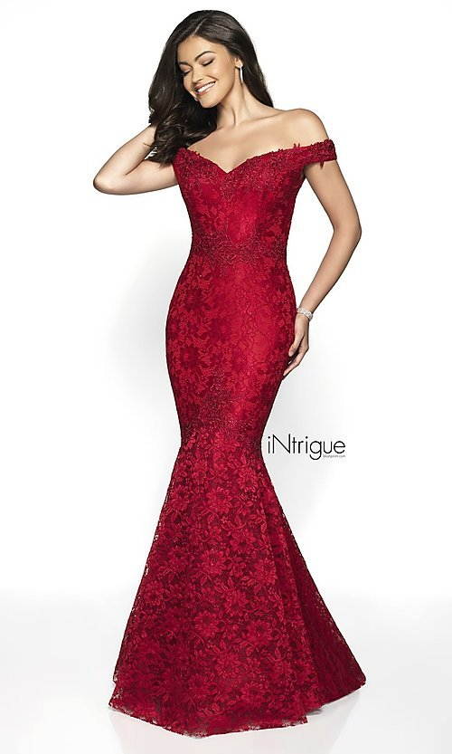 Image of lace off-the-shoulder mermaid designer prom dress. Style: BL-IN-425 Detail Image 4
