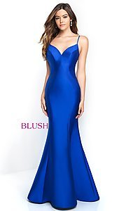 Image of long mermaid open-back prom dress by Blush. Style: BL-C1050 Detail Image 1