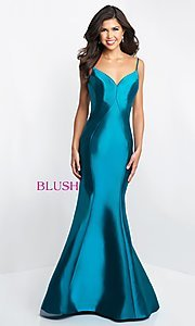 Image of long mermaid open-back prom dress by Blush. Style: BL-C1050 Front Image