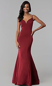 Image of v-neck long mermaid prom dress by Dave and Johnny Style: DJ-3139 Front Image