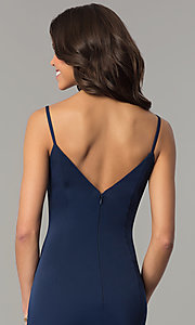 Image of v-neck long mermaid prom dress by Dave and Johnny Style: DJ-3139 Detail Image 2