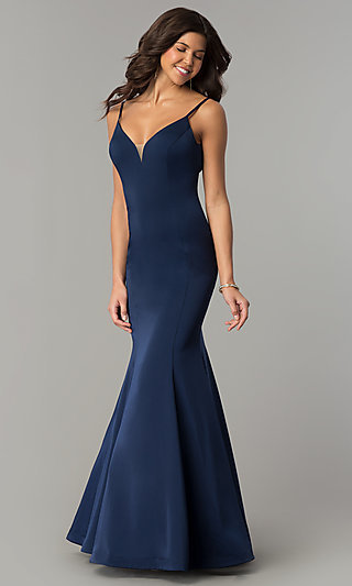 V-Neck Long Mermaid Prom Dress by Dave and Johnny