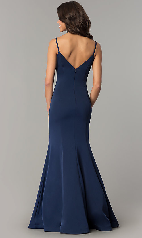 Image of v-neck long mermaid prom dress by Dave and Johnny Style: DJ-3139 Back Image