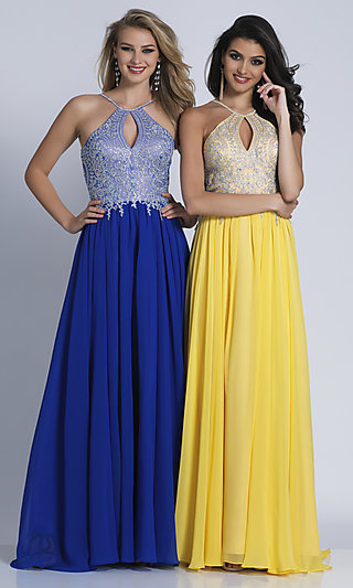 Keyhole Embellished-Bodice Long Chiffon Prom Dress