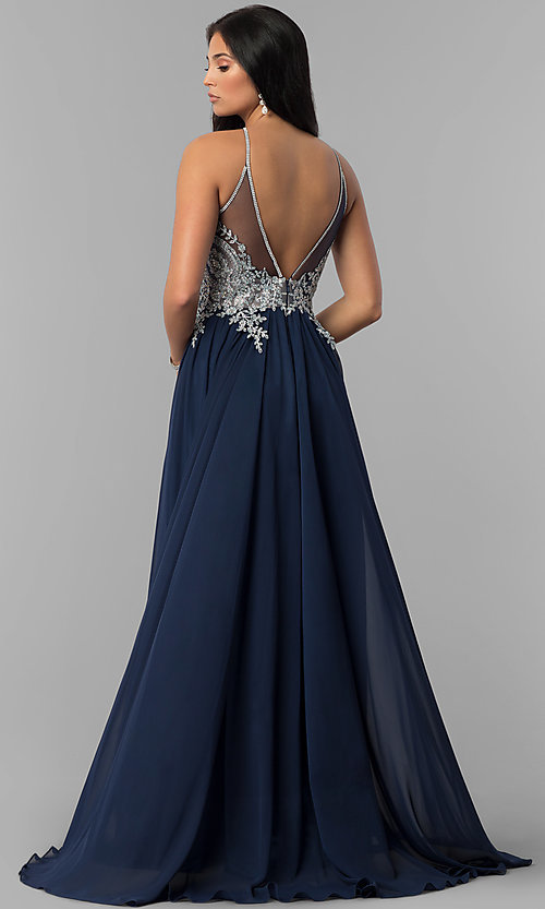 Image of keyhole embellished-bodice long chiffon prom dress. Style: DJ-3114 Back Image