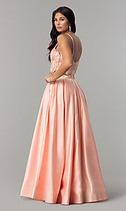 Image of two-piece long prom dress with beaded embroidery. Style: DJ-A6394 Detail Image 2
