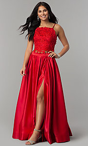 Image of two-piece long prom dress with beaded embroidery. Style: DJ-A6394 Detail Image 4