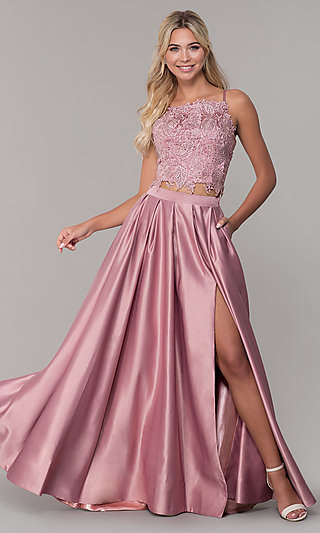 Two-Piece Long Prom Dress with Beaded Embroidery