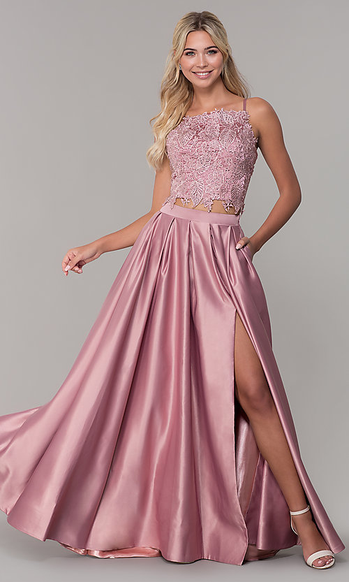 Image of two-piece long prom dress with beaded embroidery. Style: DJ-A6394 Front Image