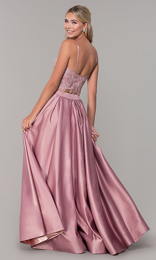 Image of two-piece long prom dress with beaded embroidery. Style: DJ-A6394 Back Image