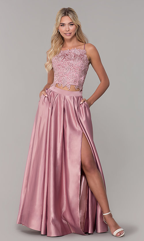 Image of two-piece long prom dress with beaded embroidery. Style: DJ-A6394 Detail Image 3