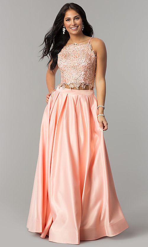 Image of two-piece long prom dress with beaded embroidery. Style: DJ-A6394 Detail Image 5
