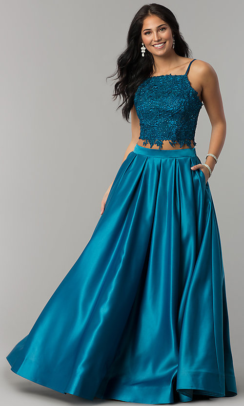 Image of two-piece long prom dress with beaded embroidery. Style: DJ-A6394 Detail Image 7