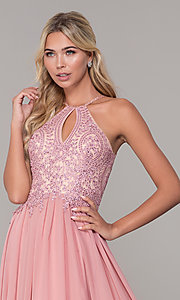 Image of a-line long prom dress with high-neck beaded bodice. Style: DJ-3250 Detail Image 1
