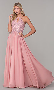 Image of a-line long prom dress with high-neck beaded bodice. Style: DJ-3250 Detail Image 3