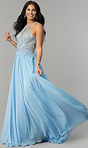 Image of a-line long prom dress with high-neck beaded bodice. Style: DJ-3250 Detail Image 5