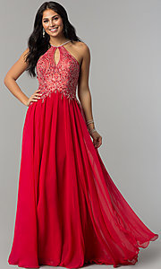 Image of a-line long prom dress with high-neck beaded bodice. Style: DJ-3250 Detail Image 7
