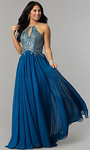 Image of a-line long prom dress with high-neck beaded bodice. Style: DJ-3250 Detail Image 6
