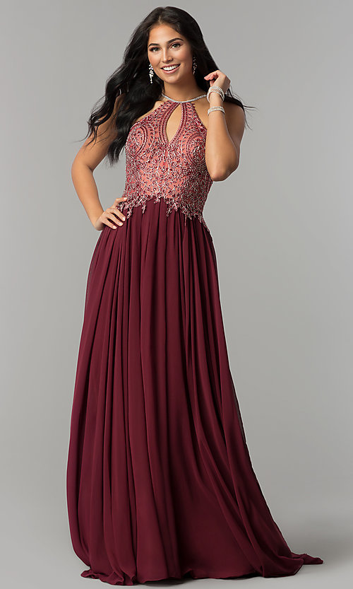 Image of a-line long prom dress with high-neck beaded bodice. Style: DJ-3250 Detail Image 4