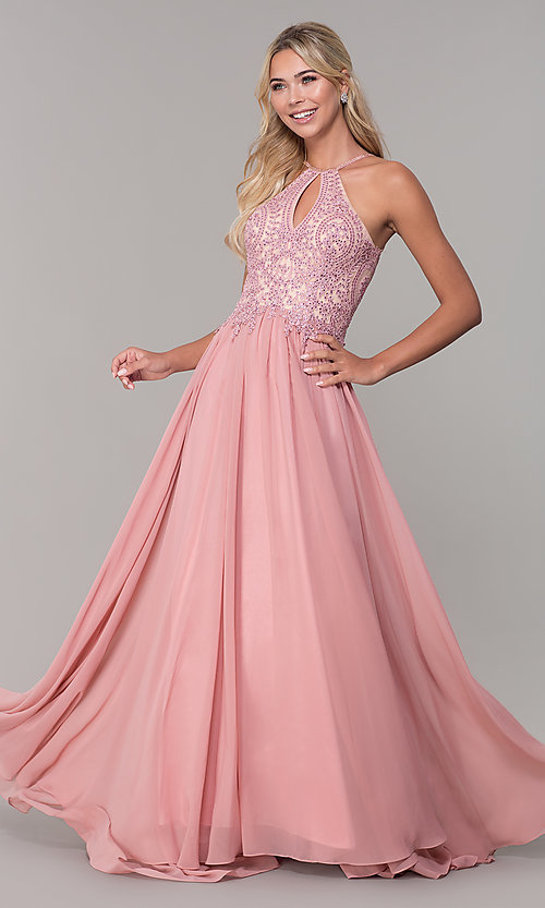 404f6b77 Image of a-line long prom dress with high-neck beaded bodice. Style
