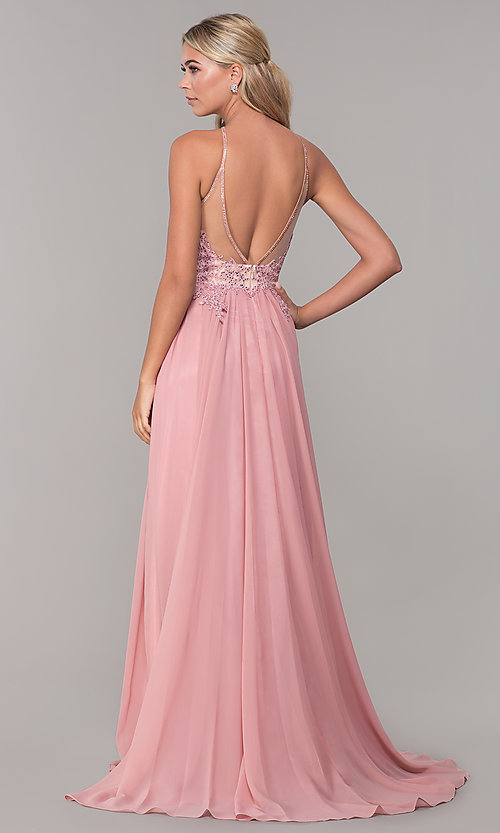 Image of a-line long prom dress with high-neck beaded bodice. Style: DJ-3250 Back Image