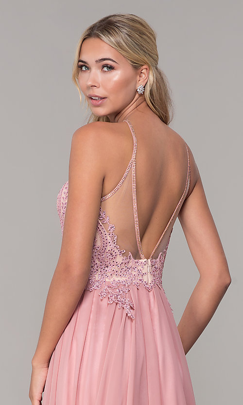 Image of a-line long prom dress with high-neck beaded bodice. Style: DJ-3250 Detail Image 2