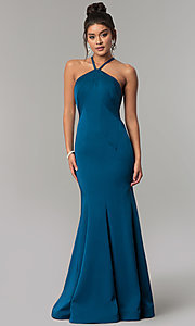 Image of Dave & Johnny racer-front open-back long prom dress. Style: DJ-A6426 Front Image