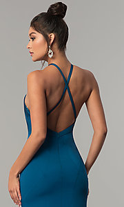 Image of Dave & Johnny racer-front open-back long prom dress. Style: DJ-A6426 Detail Image 2