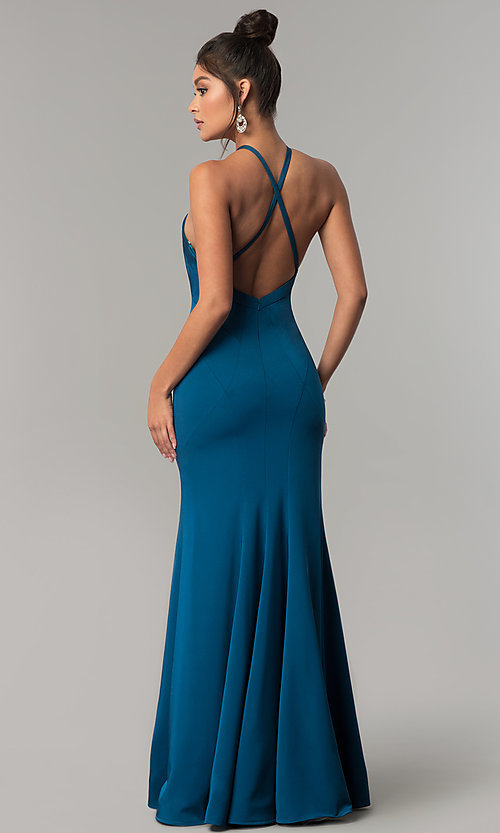 Image of Dave & Johnny racer-front open-back long prom dress. Style: DJ-A6426 Back Image