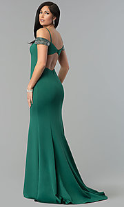 Image of long off-shoulder open-back sweetheart prom dress. Style: DJ-3245 Front Image