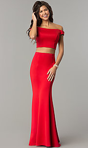 Image of off-the-shoulder long two-piece red prom dress. Style: DJ-A6153 Front Image