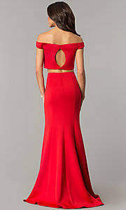 Image of off-the-shoulder long two-piece red prom dress. Style: DJ-A6153 Back Image