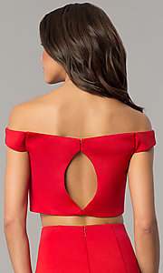 Image of off-the-shoulder long two-piece red prom dress. Style: DJ-A6153 Detail Image 2